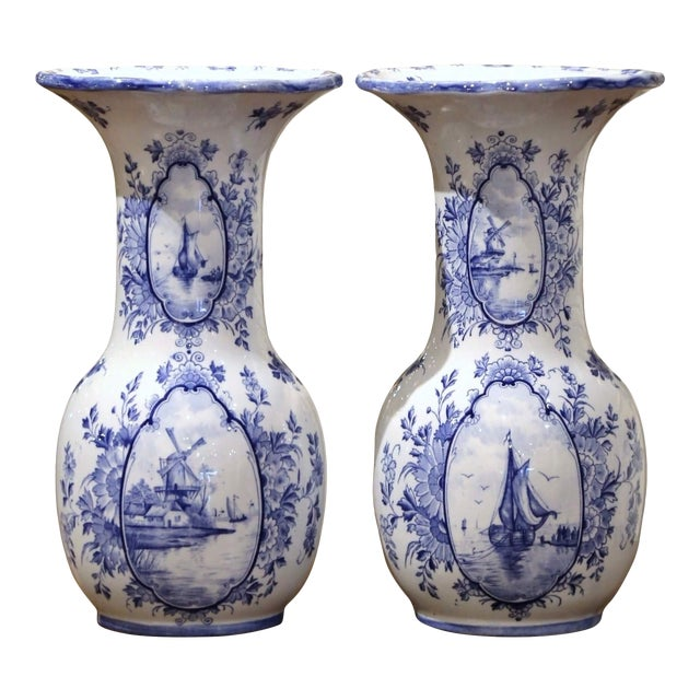 Early 20th Century Dutch Blue and White Hand Painted Faience Delft Vases - a Pair For Sale