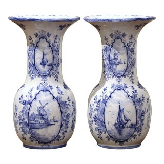 Pair of Early 20th Century Dutch Blue and White Hand Painted Faience Delft Vases For Sale