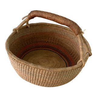 Vintage African Basket with Leather Handle For Sale