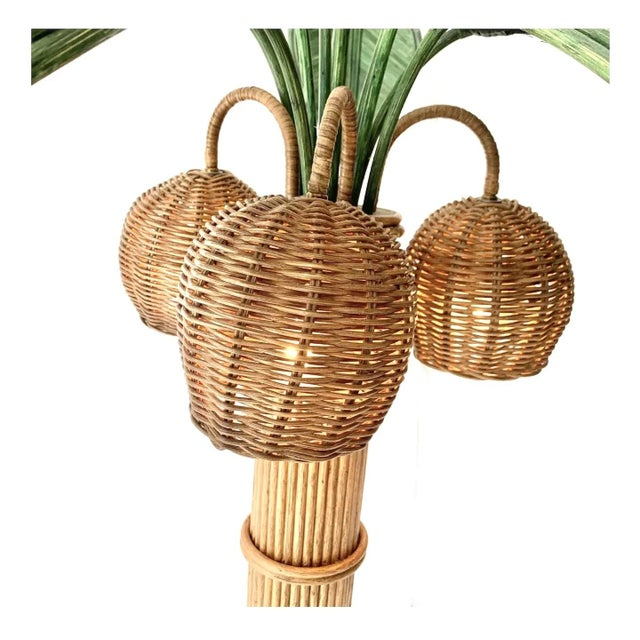 Vintage Mario Lopez Torres Rattan Wicker Palm Tree Lamp  For Sale - Image 9 of 13