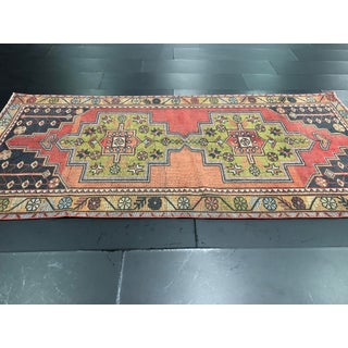 Antique Turkish Boho Colorful Handmade Pastel Oushak Hall Rug - 4′3″ × 8′9″ Preview
