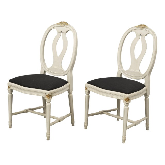 Set of 6 Gustavian Rose Carved Chairs Birch wood chairs with rose bud details carved at the top of the chair. Carved...