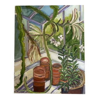 """""""Greenhouse Scenery"""" Contemporary Botanical Still Life Oil Painting For Sale"""