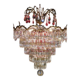 French Regency Wedding Cake Crystal Chandelier For Sale