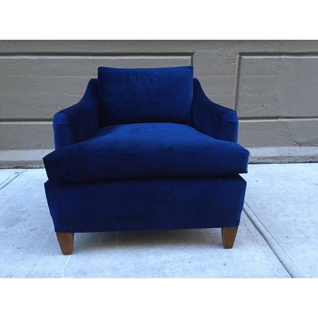 Pair of Art Deco Upholstered Lounge Chairs in Mohair - Image 2 of 3