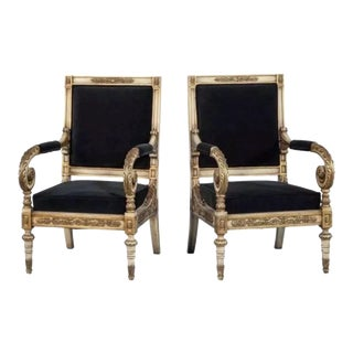 Versace Style Louis XV Bergere - a Pair Black-White Wash One of Kind Antique Bought on Auction in England For Sale