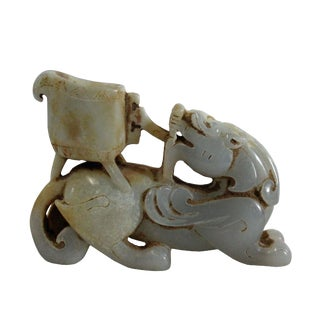 Chinese Off White Yellow Stone Carved Small Mythical Animal Figure Art For Sale