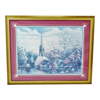 Vintage Framed Sambataro Church Steeple Print For Sale