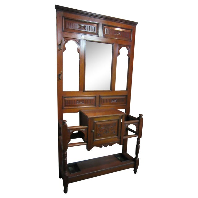 Antique Victorian 1800s Walnut Hall Mirror Stand - Image 1 of 11