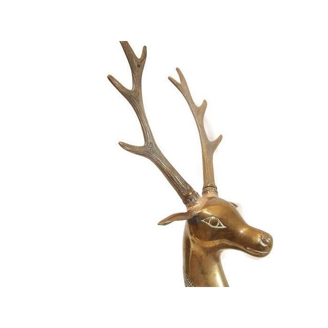Hollywood Regency Brass Reindeer Statue - Image 6 of 9