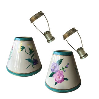 Hand Painted Candle Clip Lamp Shades & Harps - A Pair For Sale
