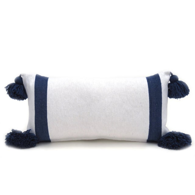 Textile Boho Chic White and Blue Cotton Pillow For Sale - Image 7 of 7