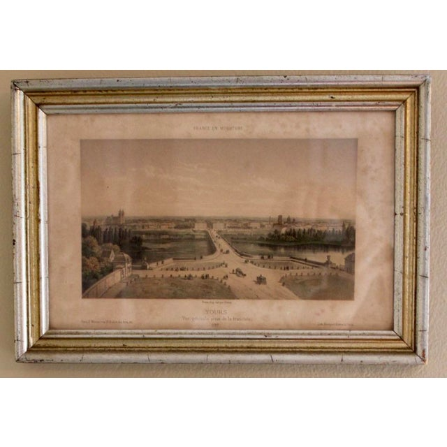 French Country French Country Prints in Silver and Gold Bamboo Style Wooden Frames - a Pair For Sale - Image 3 of 10