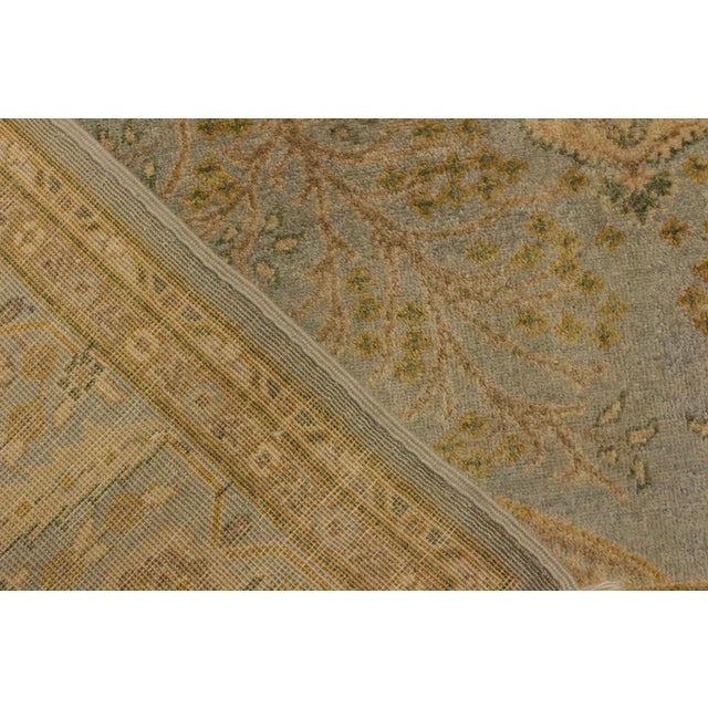 Textile Semi Antique Istanbul George Lt. Blue/Gold Turkish Hand-Knotted Rug -5'8 X 7'4 For Sale - Image 7 of 8