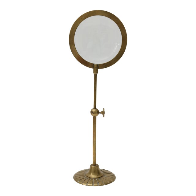 Mid-Century Adjustable Brass Magnifier For Sale