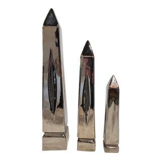 1980s Chrome Finish Jaru Obelisks - Set of 3 For Sale
