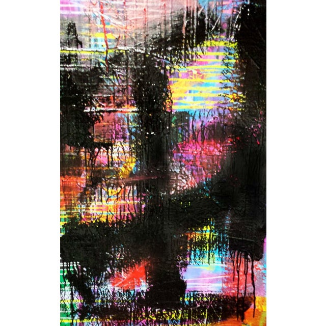 """Contemporary Abstract Oil Painting """"Black Rake II"""" by Mirtha Moreno For Sale In West Palm - Image 6 of 6"""