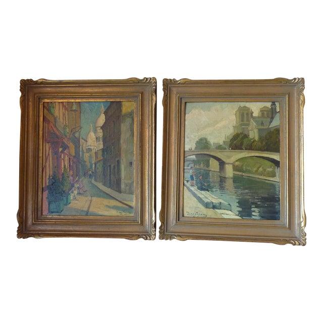 Scenes of Paris Oil Paintings - A Pair - Image 1 of 7