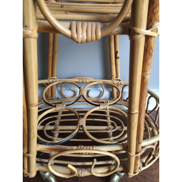 Mid 20th Century Vintage Rosenthal Netter Bamboo & Rattan Bar Cart For Sale - Image 5 of 6
