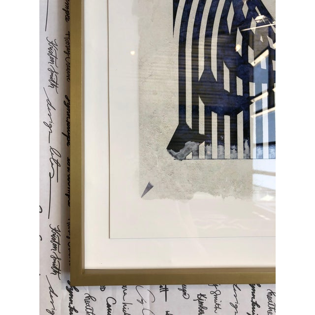 This cool, abstract print was purchased for a design installation and never used. Print is navy and gray with white...