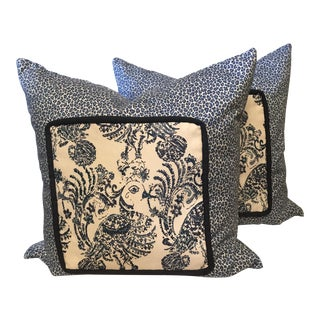 "Cottage Blue and White Animal Print Designer Fabric Pillows 20"" - a Pair For Sale"
