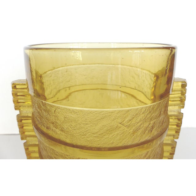 Czech Etched Geometric Vase - Image 4 of 9