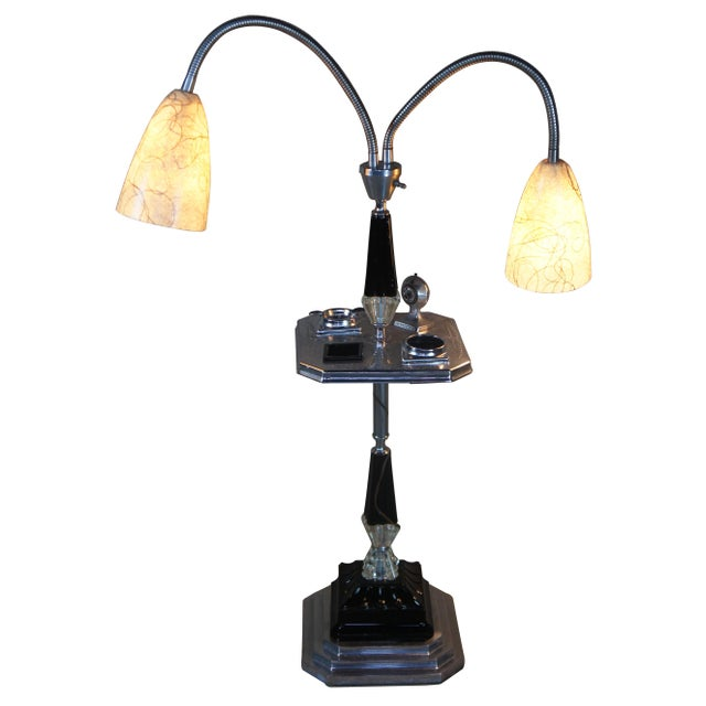 1960s Art Deco Black Glass Chrome Smoking Table Adjustable Lights Floor Lamp Ashtray Chairish