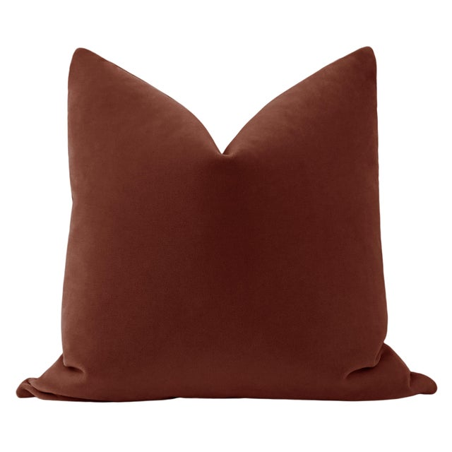 """Pair of beautiful 22"""" natural linen pillows with a Rouge mohair velvet center and solid natural linen reverse...."""