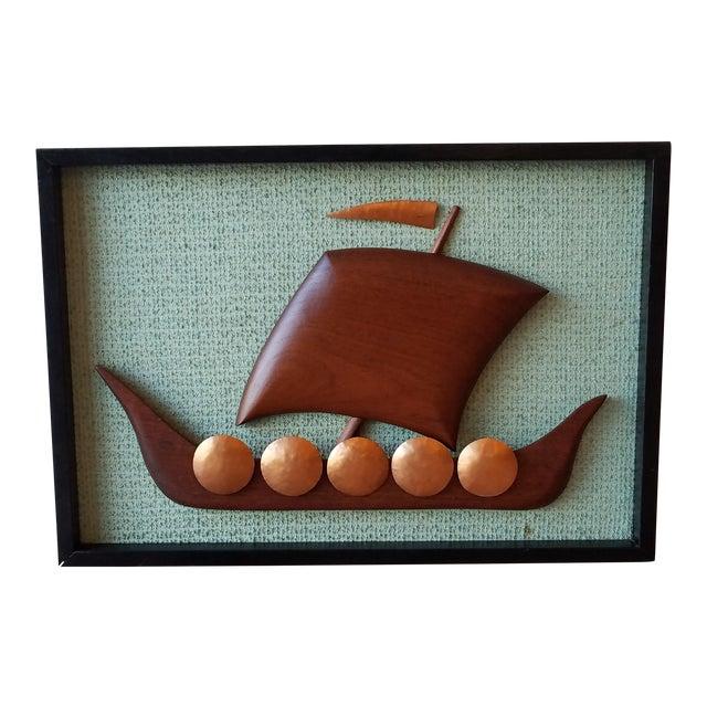 Vintage Framed Carved Viking Ship For Sale