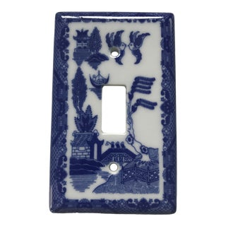 "Asian Porcelain ""Blue Willow"" Light Switch Plate Cover For Sale"