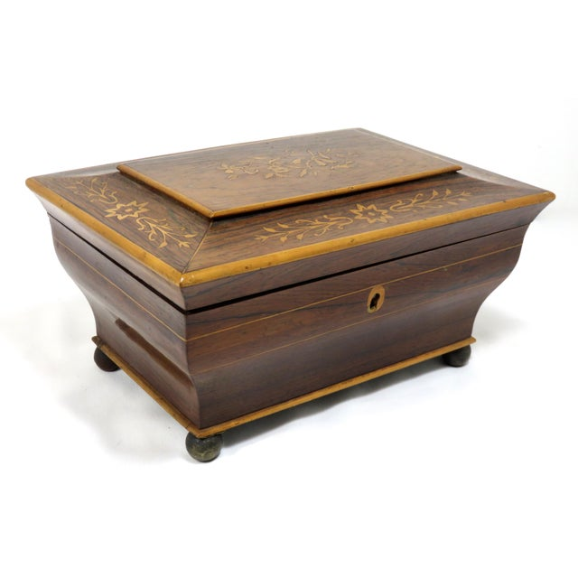 Victorian 19th Century Victorian Rosewood Marquetry Sewing Box For Sale - Image 3 of 13