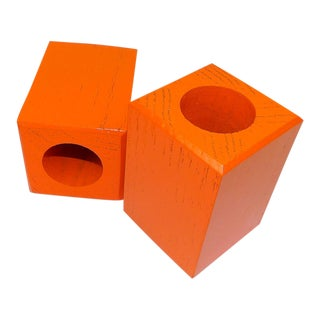 Mid-Century Modern Orange Wood Candle Holders - A Pair For Sale