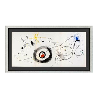 Joan Miro Original Triptych Color Lithograph, 1963 Frame Included For Sale