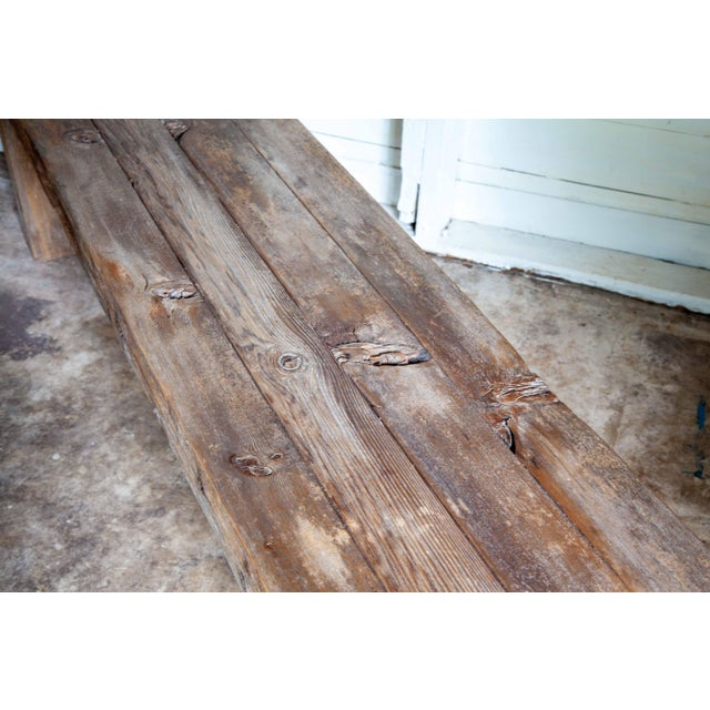 """Reclaimed Wood Parsons Dining Entry Bed Bench Coffee Table 70"""" For Sale - Image 4 of 11"""