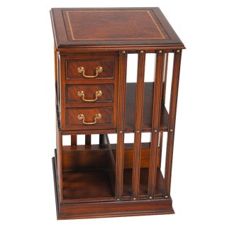 Leather Top Revolving Bookcase For Sale