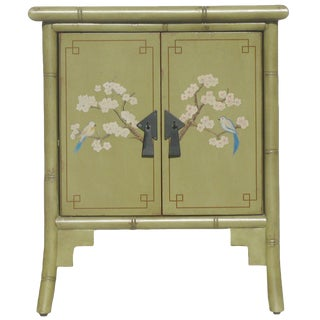 Green Chinoiserie Faux-Bamboo Cabinet For Sale