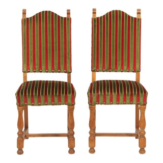 1930's Tuscan-Style Striped Dining Chairs, S/2 For Sale