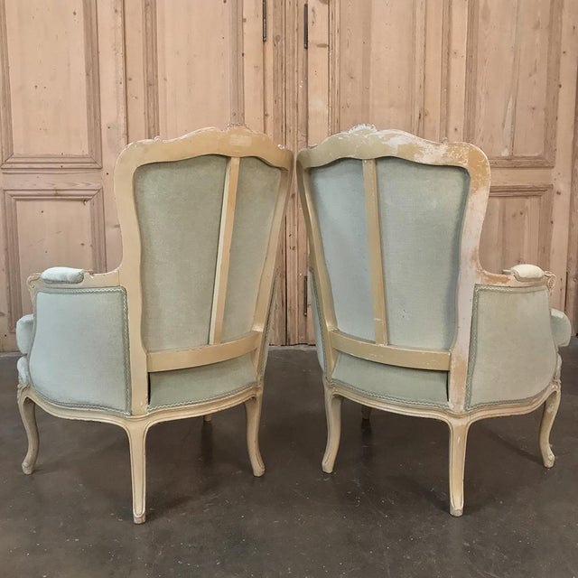 Pair 19th Century French Louis XV Bergeres ~ Armchairs For Sale - Image 11 of 12