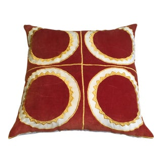 Burnt Red & Yellow Embroidered Suede Pillow
