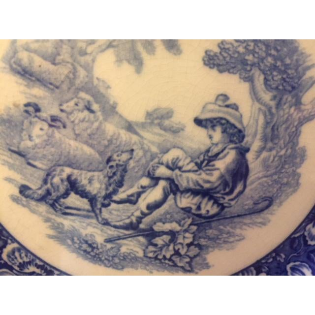 Late 19th Century French Country Blue Transferware Charger Round Plates - Set of 12 For Sale - Image 5 of 13