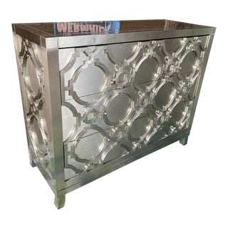 Bernhardt Odessa Fretwork Silver Metal Dresser Console For Sale