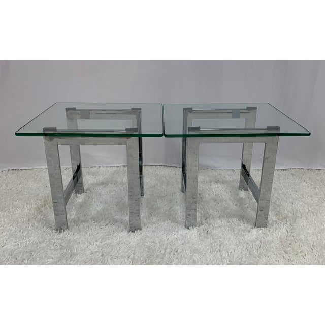 Metal Milo Baughman Style Mid-Century Chrome and Glass Side End Tables -- a Pair For Sale - Image 7 of 9