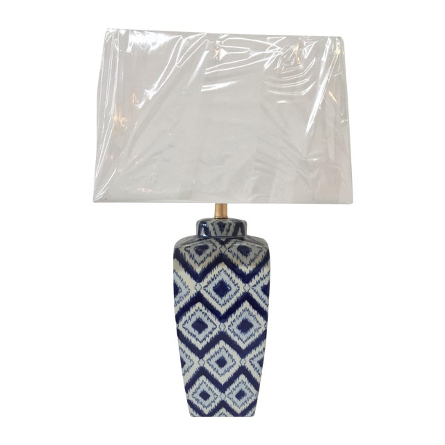 Blue & White Ikat Table Lamp - Image 1 of 4