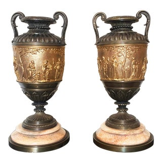 19th Century Neoclassical Patinated Bronze and Brass Urns - a Pair For Sale