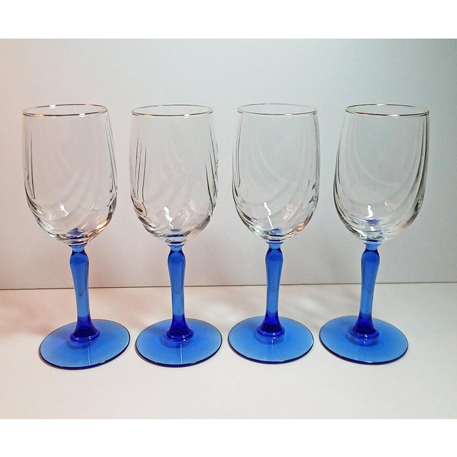 Vintage Lenox Swag Pattern Cobalt Blue Stem Wine Goblets - Set of 4 For Sale In Phoenix - Image 6 of 6