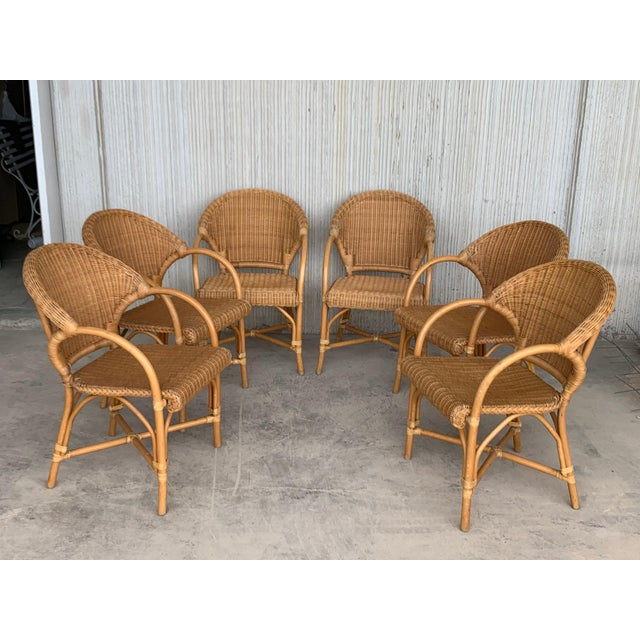 Midcentury Set of Six Bamboo and Rattan Dining Room Armchairs For Sale - Image 9 of 13