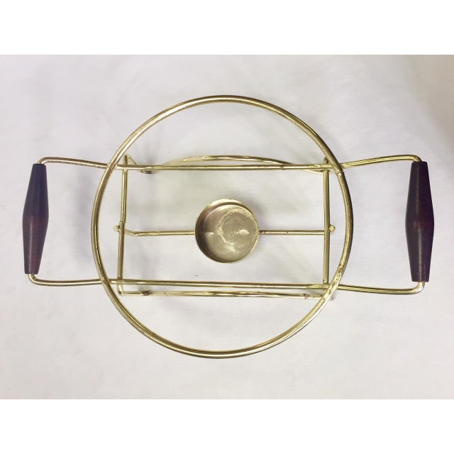 Gold 1960s Anchor Hocking Casserole Dish With Candle Warmer & Walnut Handle Caddy For Sale - Image 8 of 12