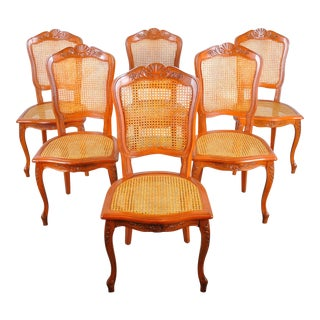 Vintage French Louis XV Style Cherry Wood Cane Dining Chairs For Sale