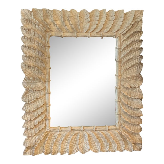 Vintage Tropical Palm Tree Leaf Leaves Faux Bamboo Wall Mirror For Sale