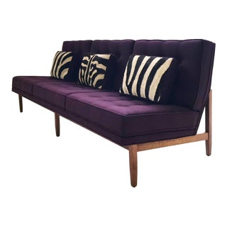 Forsyth Vintage Florence Knoll Sofa Restored in Loro Piana Cashmere With Custom Zebra Hide Pillows For Sale